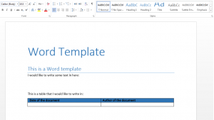 empty word template used to generate Word report from MATLAB.