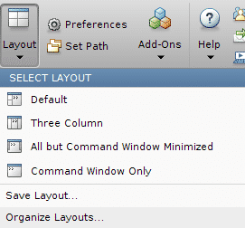Predefined MATLAB layouts