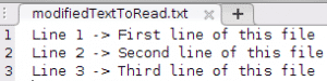 example of modifying a text file using fgetl